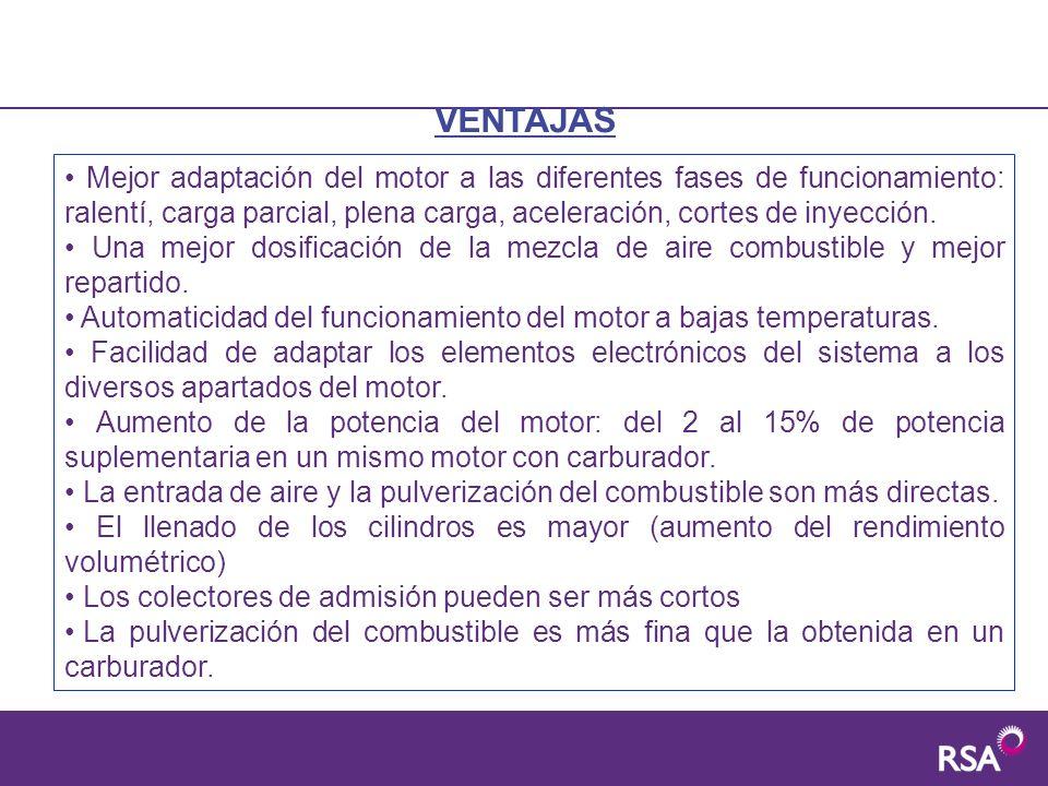 Mejor adaptación del motor a las diferentes fases de funcionamiento: ralentí, carga parcial, plena carga, aceleración, cortes de inyección. Una mejor