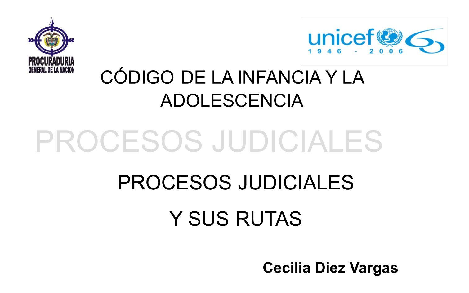 PROCESOS JUDICIALES Y SUS RUTAS CÓDIGO DE LA INFANCIA Y LA ADOLESCENCIA Cecilia Diez Vargas
