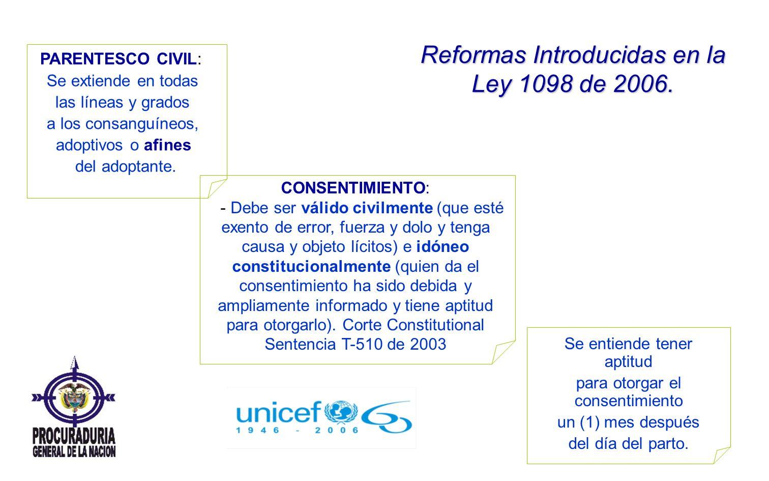 Reformas Introducidas en la Ley 1098 de 2006. PARENTESCO CIVIL: Se extiende en todas las líneas y grados a los consanguíneos, adoptivos o afines del a