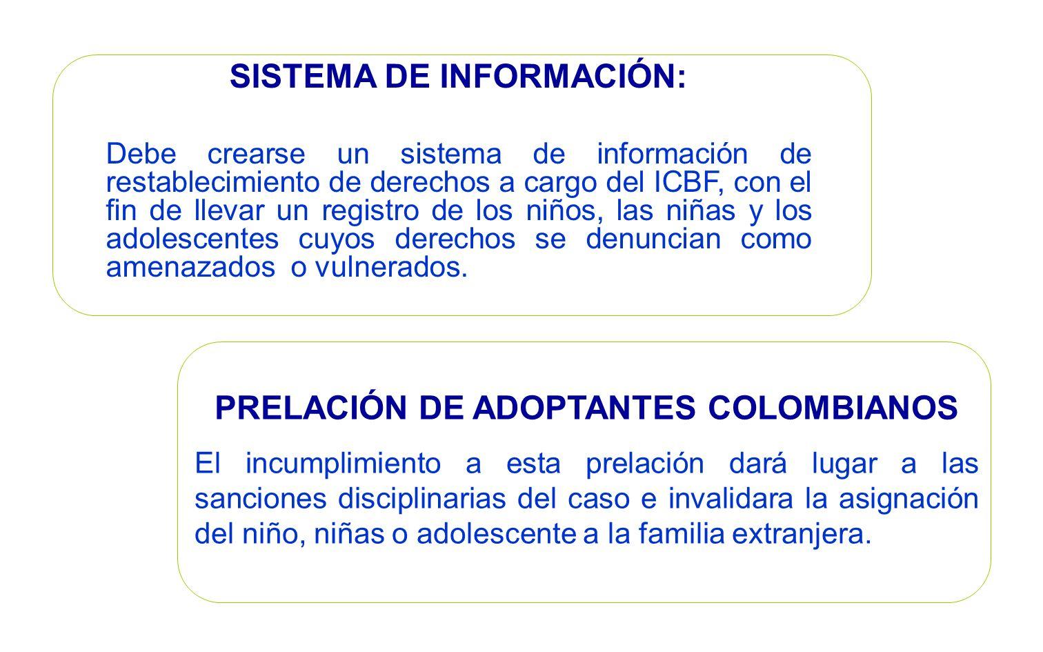 PRELACIÓN DE ADOPTANTES COLOMBIANOS El incumplimiento a esta prelación dará lugar a las sanciones disciplinarias del caso e invalidara la asignación d
