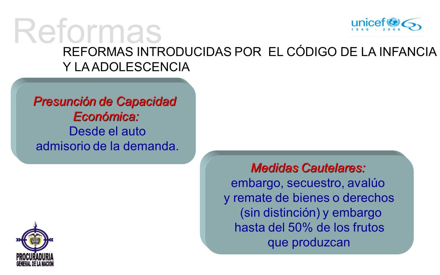 Reformas Presunción de Capacidad Económica: Desde el auto admisorio de la demanda.