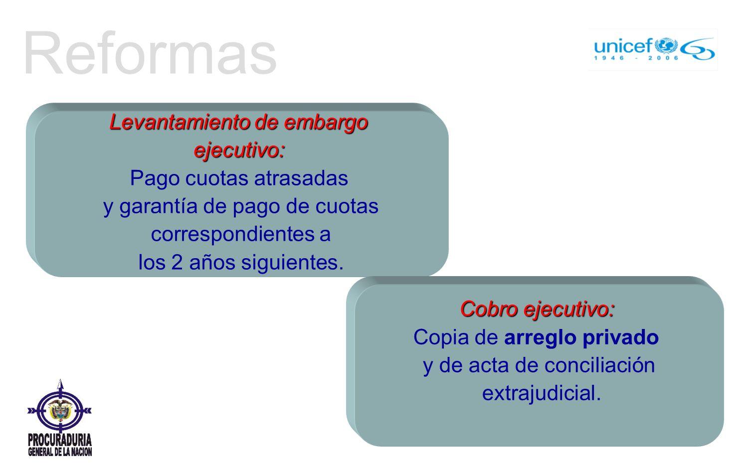 Reformas Levantamiento de embargo ejecutivo: Pago cuotas atrasadas y garantía de pago de cuotas correspondientes a los 2 años siguientes.