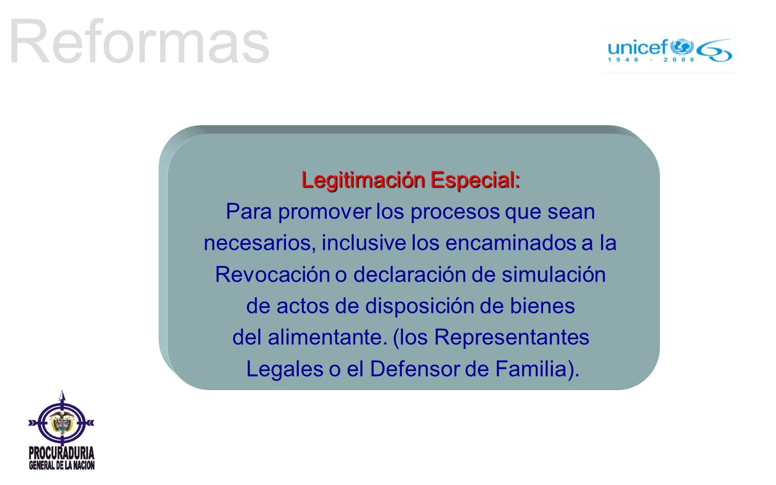 Reformas Legitimación Especial: Para promover los procesos que sean necesarios, inclusive los encaminados a la Revocación o declaración de simulación de actos de disposición de bienes del alimentante.