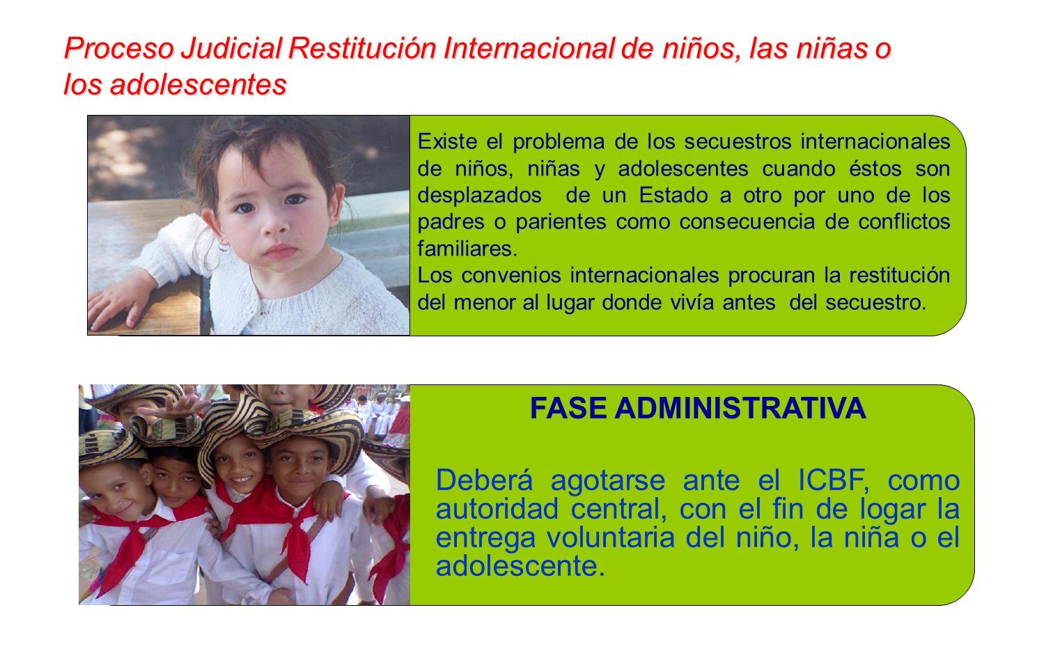 FASE ADMINISTRATIVA Deberá agotarse ante el ICBF, como autoridad central, con el fin de logar la entrega voluntaria del niño, la niña o el adolescente.