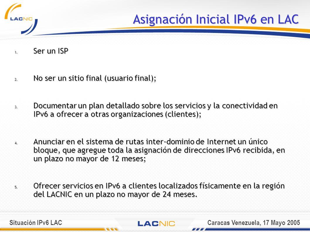Situación IPv6 LACCaracas Venezuela, 17 Mayo 2005 Asignación Inicial IPv6 en LAC 1.