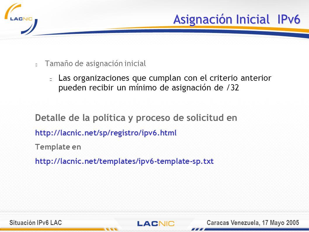 Situación IPv6 LACCaracas Venezuela, 17 Mayo 2005 Asignación Inicial IPv6 Tamaño de asignación inicial Las organizaciones que cumplan con el criterio anterior pueden recibir un mínimo de asignación de /32 Detalle de la política y proceso de solicitud en http://lacnic.net/sp/registro/ipv6.html Template en http://lacnic.net/templates/ipv6-template-sp.txt