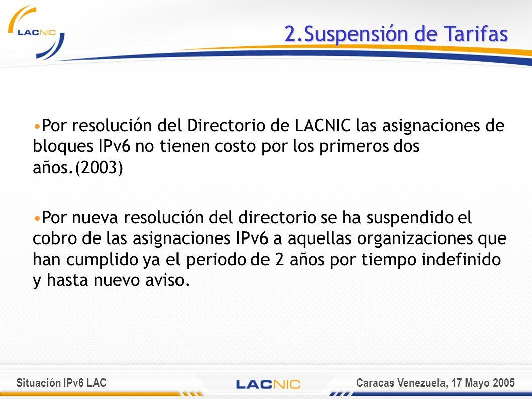 Situación IPv6 LACCaracas Venezuela, 17 Mayo 2005 2.Suspensión de Tarifas Por resolución del Directorio de LACNIC las asignaciones de bloques IPv6 no tienen costo por los primeros dos años.(2003) Por nueva resolución del directorio se ha suspendido el cobro de las asignaciones IPv6 a aquellas organizaciones que han cumplido ya el periodo de 2 años por tiempo indefinido y hasta nuevo aviso.