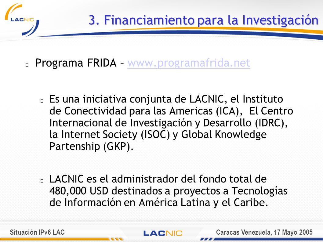 Situación IPv6 LACCaracas Venezuela, 17 Mayo 2005 Programa FRIDA – www.programafrida.netwww.programafrida.net Es una iniciativa conjunta de LACNIC, el Instituto de Conectividad para las Americas (ICA), El Centro Internacional de Investigación y Desarrollo (IDRC), la Internet Society (ISOC) y Global Knowledge Partenship (GKP).
