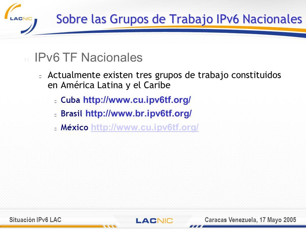 Situación IPv6 LACCaracas Venezuela, 17 Mayo 2005 Sobre las Grupos de Trabajo IPv6 Nacionales IPv6 TF Nacionales Actualmente existen tres grupos de trabajo constituidos en América Latina y el Caribe Cuba http://www.cu.ipv6tf.org/ Brasil http://www.br.ipv6tf.org/ México http://www.cu.ipv6tf.org/ http://www.cu.ipv6tf.org/