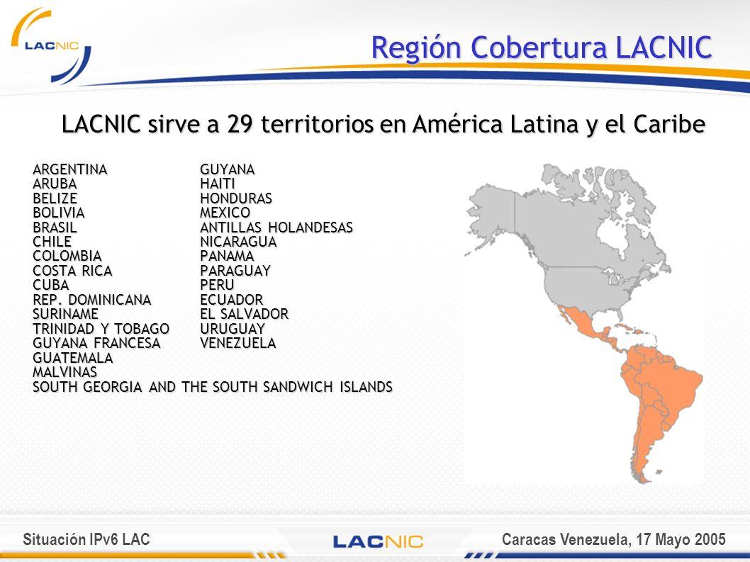 Situación IPv6 LACCaracas Venezuela, 17 Mayo 2005 Región Cobertura LACNIC ARGENTINAGUYANA ARUBA HAITI BELIZE HONDURAS BOLIVIA MEXICO BRASIL ANTILLAS HOLANDESAS CHILE NICARAGUA COLOMBIA PANAMA COSTA RICA PARAGUAY CUBA PERU REP.