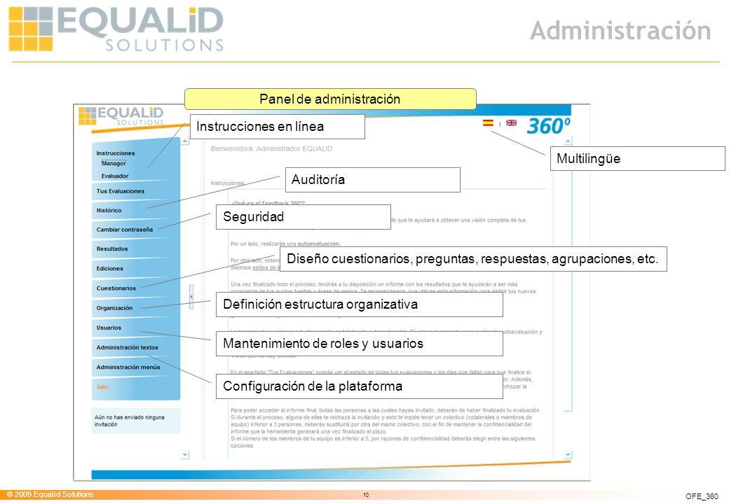 © 2009 Equalid Solutions 10 OFE_360 Administración Instrucciones en línea Seguridad Multilingüe Auditoría Diseño cuestionarios, preguntas, respuestas,