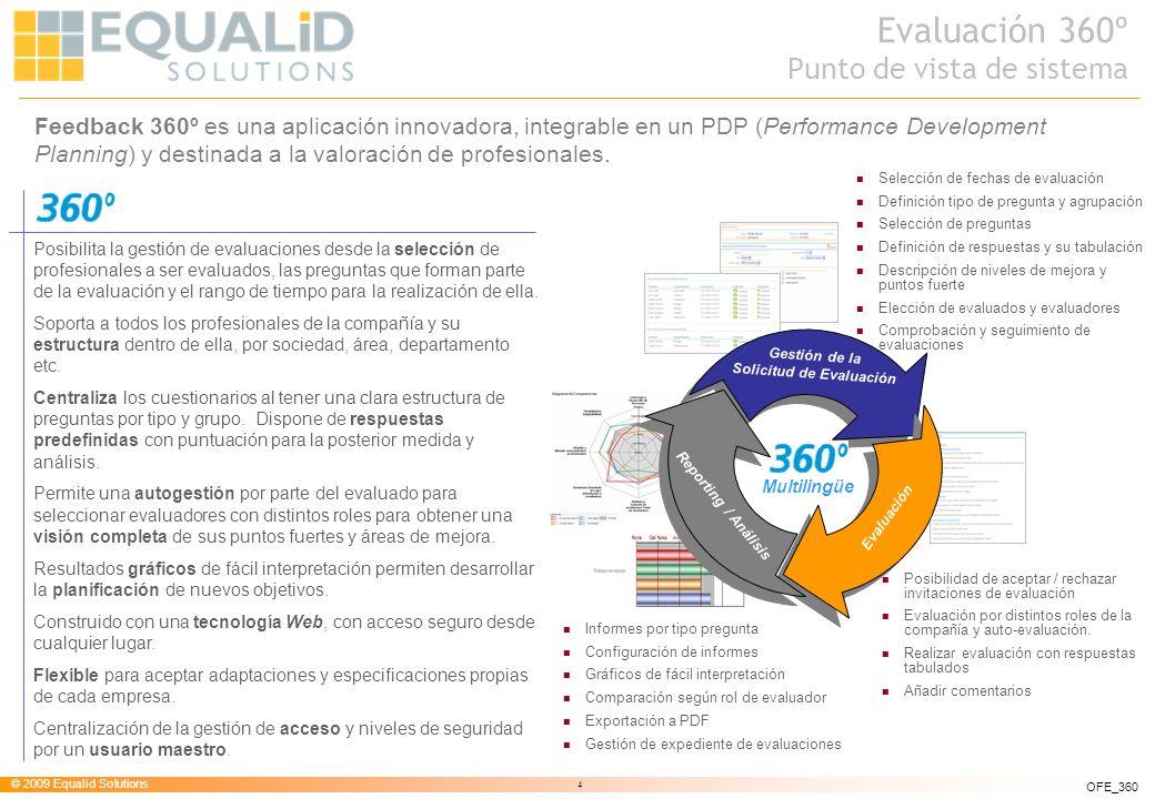 © 2009 Equalid Solutions 4 OFE_360 Feedback 360º es una aplicación innovadora, integrable en un PDP (Performance Development Planning) y destinada a l