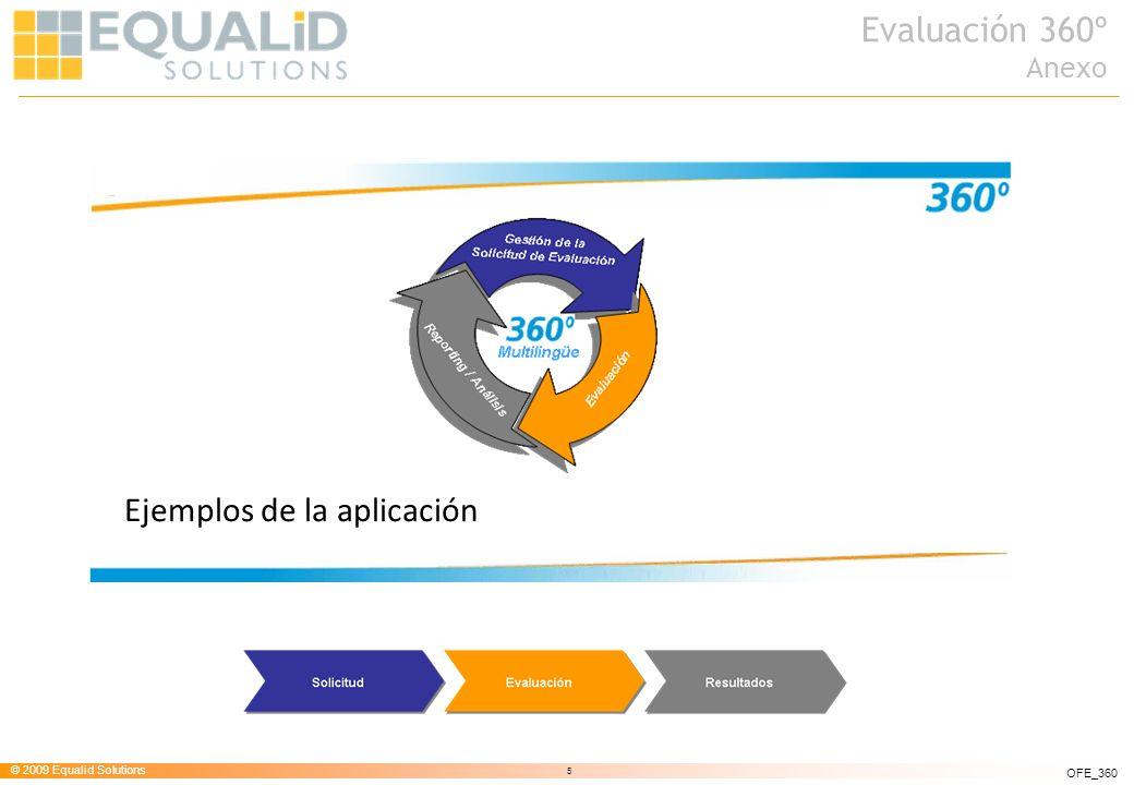 © 2009 Equalid Solutions 6 OFE_360 Solicitud Filtros de selección de la búsqueda de evaluadores Solicitud de evaluación Seguimiento de evaluación Estado de las evaluaciones solicitadas Evaluaciones solicitadas al usuario