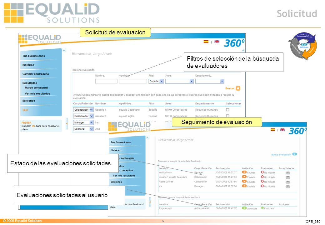 © 2009 Equalid Solutions 6 OFE_360 Solicitud Filtros de selección de la búsqueda de evaluadores Solicitud de evaluación Seguimiento de evaluación Esta