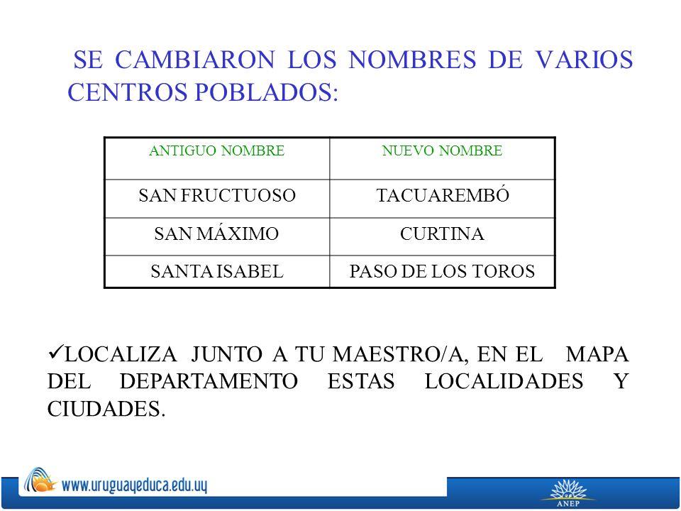SE CAMBIARON LOS NOMBRES DE VARIOS CENTROS POBLADOS: ANTIGUO NOMBRENUEVO NOMBRE SAN FRUCTUOSOTACUAREMBÓ SAN MÁXIMOCURTINA SANTA ISABELPASO DE LOS TOROS LOCALIZA JUNTO A TU MAESTRO/A, EN EL MAPA DEL DEPARTAMENTO ESTAS LOCALIDADES Y CIUDADES.