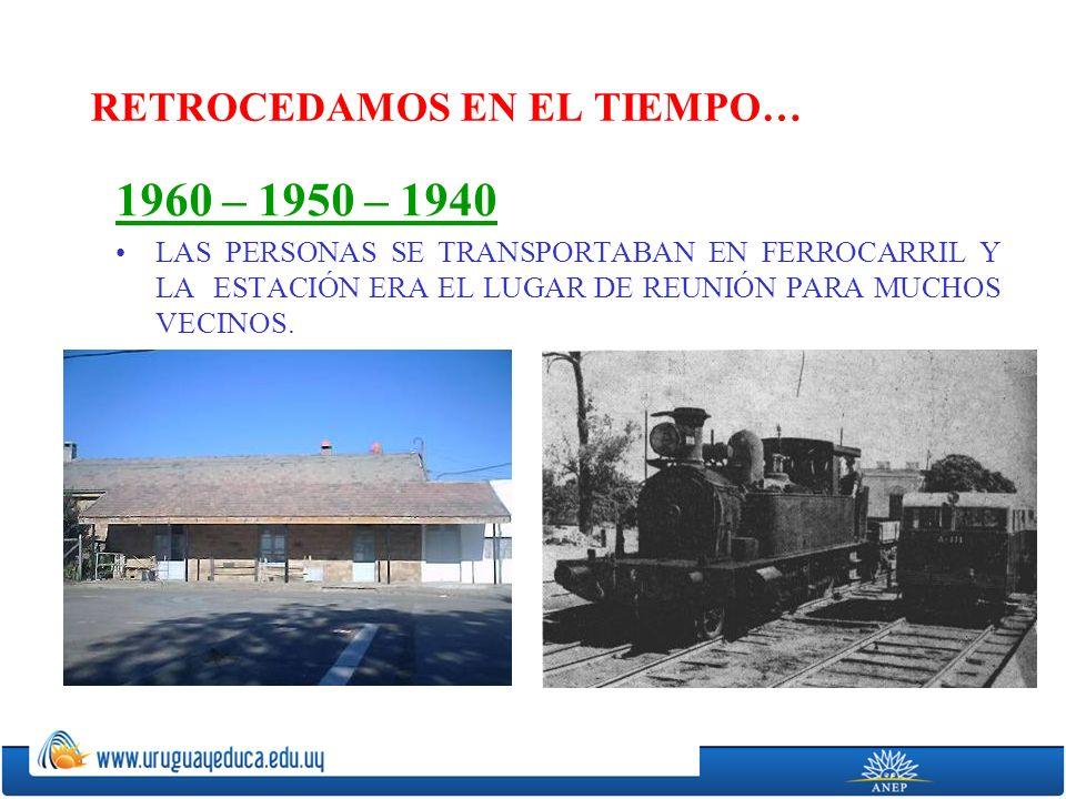 RETROCEDAMOS EN EL TIEMPO… 1960 – 1950 – 1940 LAS PERSONAS SE TRANSPORTABAN EN FERROCARRIL Y LA ESTACIÓN ERA EL LUGAR DE REUNIÓN PARA MUCHOS VECINOS.