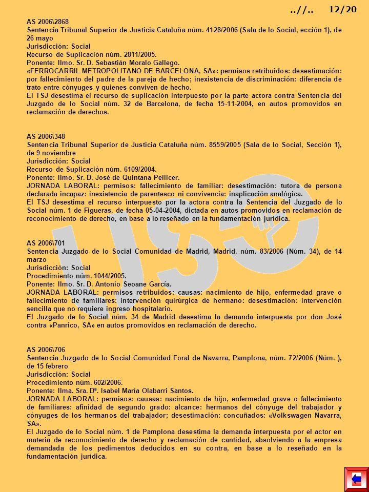AS 2006\2868 Sentencia Tribunal Superior de Justicia Cataluña núm. 4128/2006 (Sala de lo Social, ección 1), de 26 mayo Jurisdicción: Social Recurso de