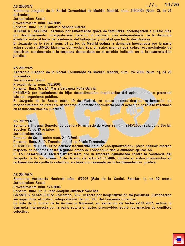 AS 2006\977 Sentencia Juzgado de lo Social Comunidad de Madrid, Madrid, núm. 319/2005 (Núm. 3), de 21 diciembre Jurisdicción: Social Procedimiento núm