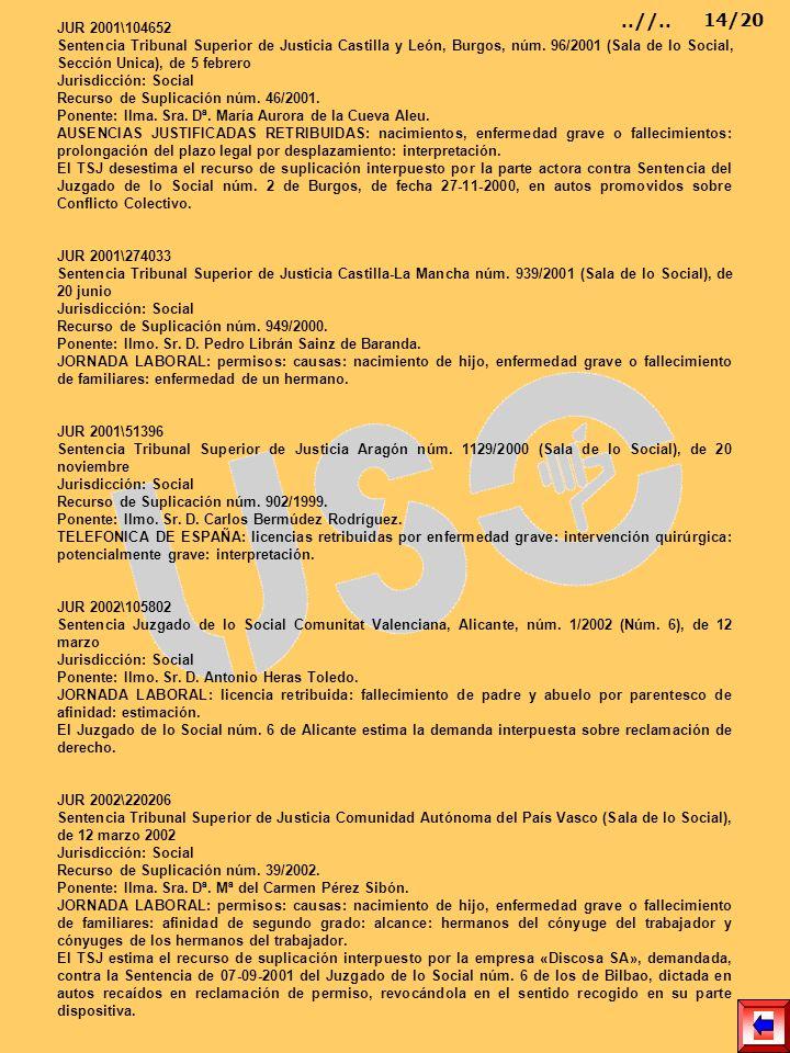 JUR 2001\104652 Sentencia Tribunal Superior de Justicia Castilla y León, Burgos, núm. 96/2001 (Sala de lo Social, Sección Unica), de 5 febrero Jurisdi