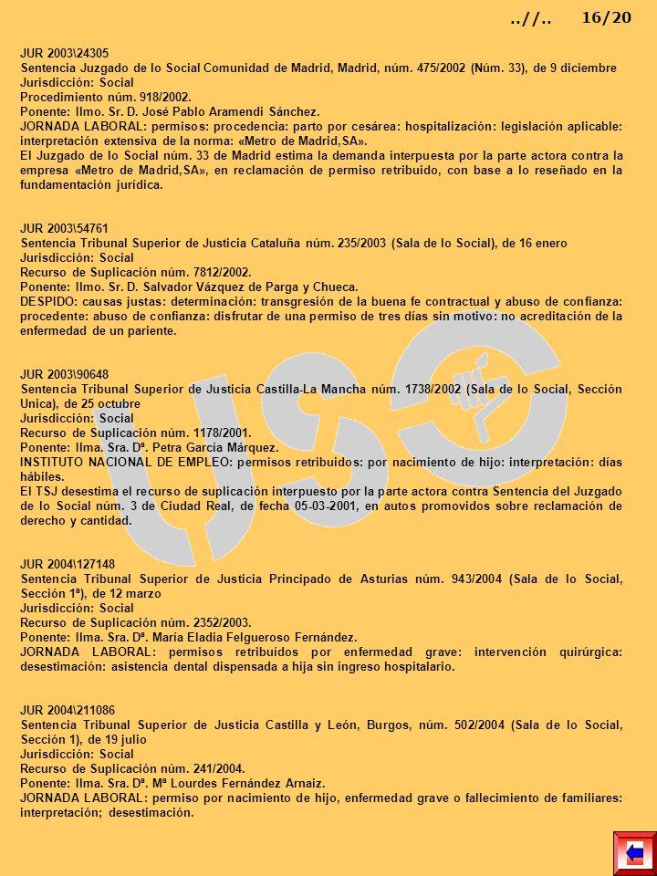 JUR 2003\24305 Sentencia Juzgado de lo Social Comunidad de Madrid, Madrid, núm. 475/2002 (Núm. 33), de 9 diciembre Jurisdicción: Social Procedimiento