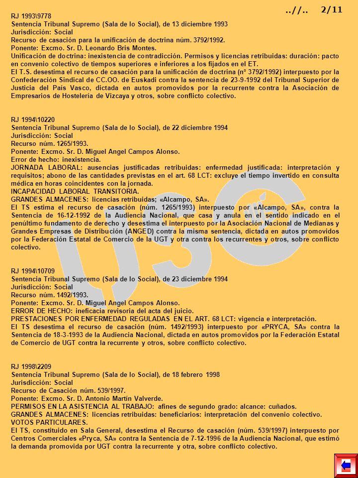 RJ 1993\9778 Sentencia Tribunal Supremo (Sala de lo Social), de 13 diciembre 1993 Jurisdicción: Social Recurso de casación para la unificación de doct