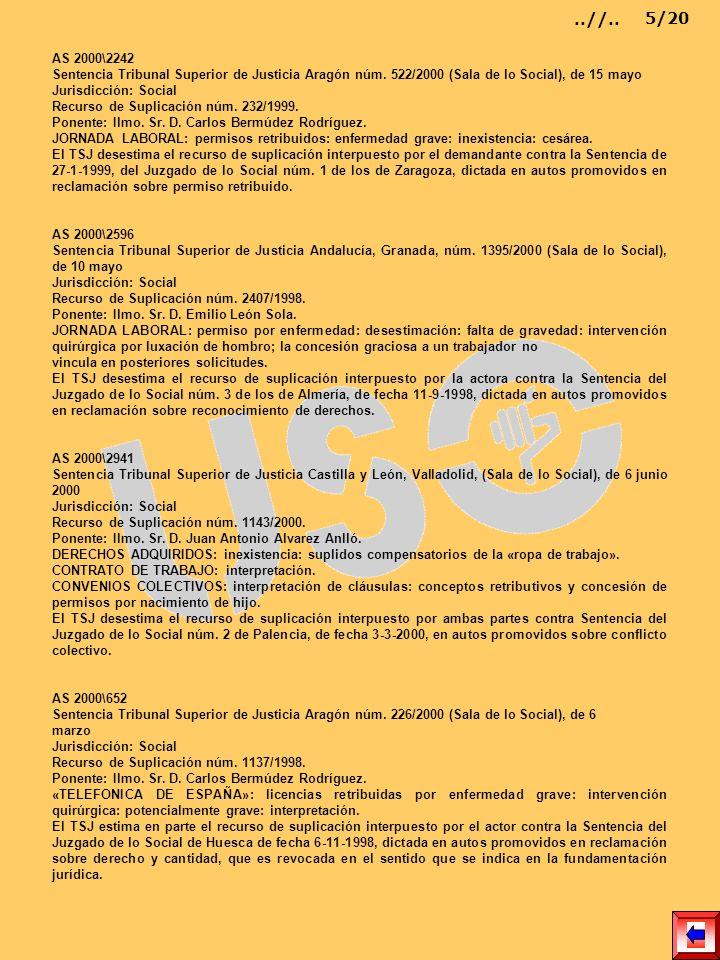 AS 2000\2242 Sentencia Tribunal Superior de Justicia Aragón núm. 522/2000 (Sala de lo Social), de 15 mayo Jurisdicción: Social Recurso de Suplicación
