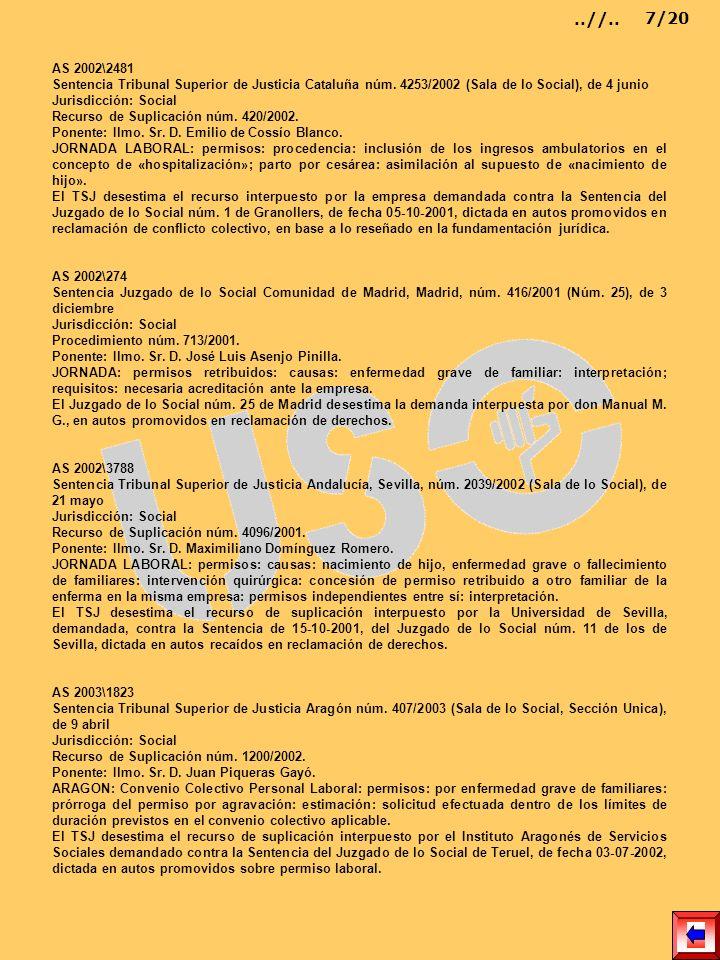 AS 2002\2481 Sentencia Tribunal Superior de Justicia Cataluña núm. 4253/2002 (Sala de lo Social), de 4 junio Jurisdicción: Social Recurso de Suplicaci