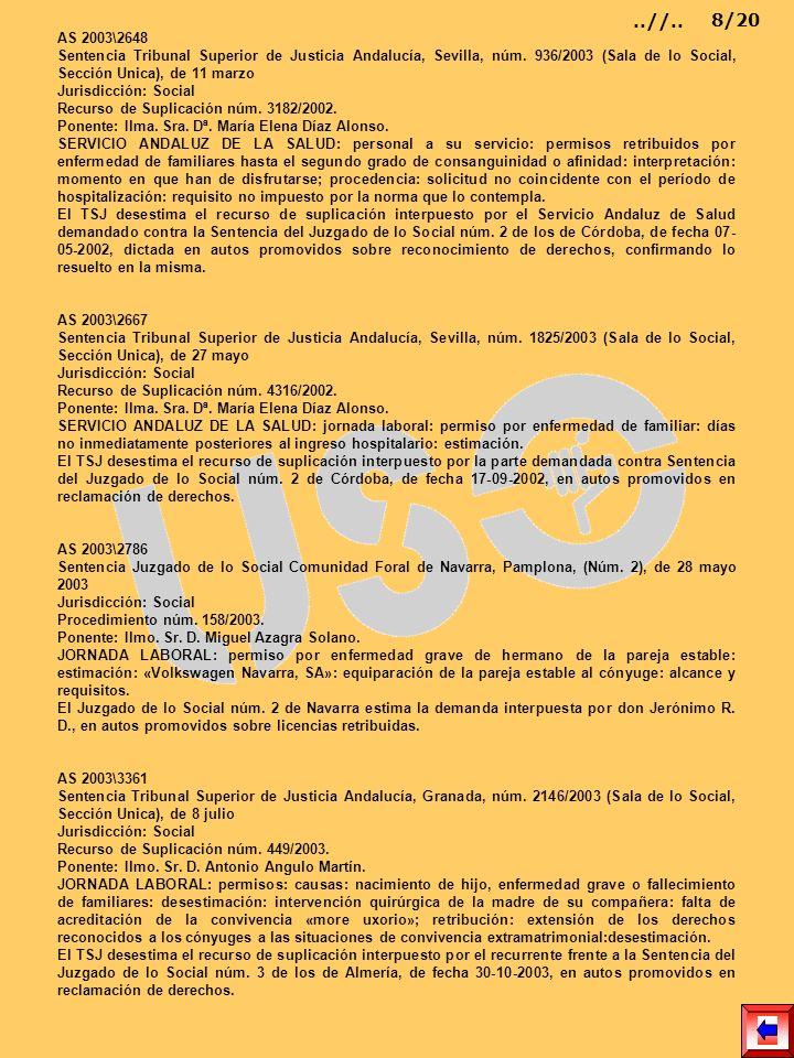 AS 2003\2648 Sentencia Tribunal Superior de Justicia Andalucía, Sevilla, núm. 936/2003 (Sala de lo Social, Sección Unica), de 11 marzo Jurisdicción: S