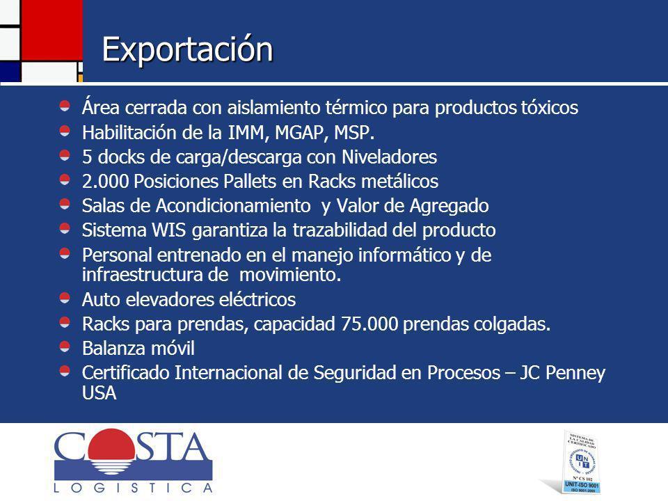 Exportación Área cerrada con aislamiento térmico para productos tóxicos Habilitación de la IMM, MGAP, MSP.