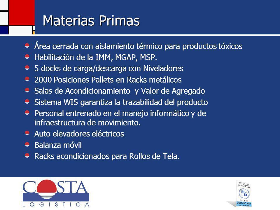 Materias Primas Área cerrada con aislamiento térmico para productos tóxicos Habilitación de la IMM, MGAP, MSP.
