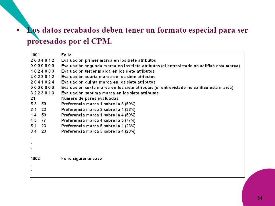 34 Los datos recabados deben tener un formato especial para ser procesados por el CPM.