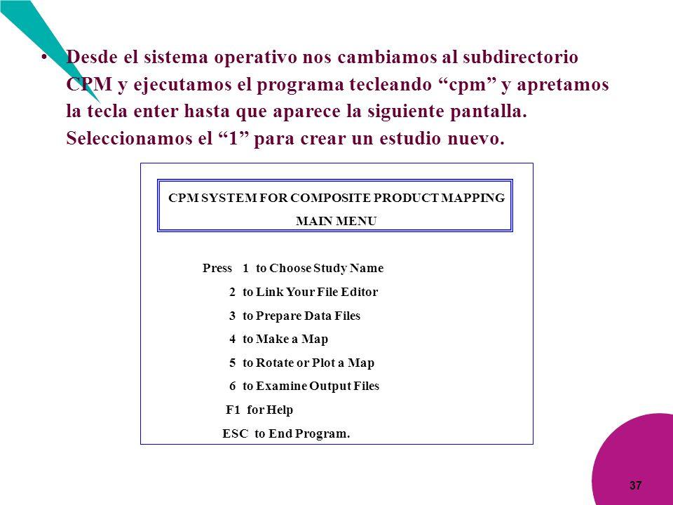 37 Desde el sistema operativo nos cambiamos al subdirectorio CPM y ejecutamos el programa tecleando cpm y apretamos la tecla enter hasta que aparece l