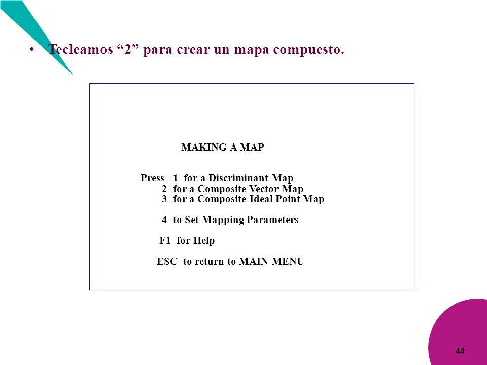 44 Tecleamos 2 para crear un mapa compuesto. MAKING A MAP Press 1 for a Discriminant Map 2 for a Composite Vector Map 3 for a Composite Ideal Point Ma