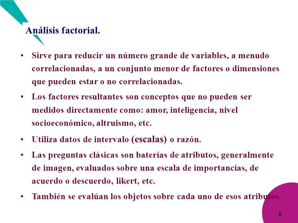 8 Análisis factorial. Sirve para reducir un número grande de variables, a menudo correlacionadas, a un conjunto menor de factores o dimensiones que pu