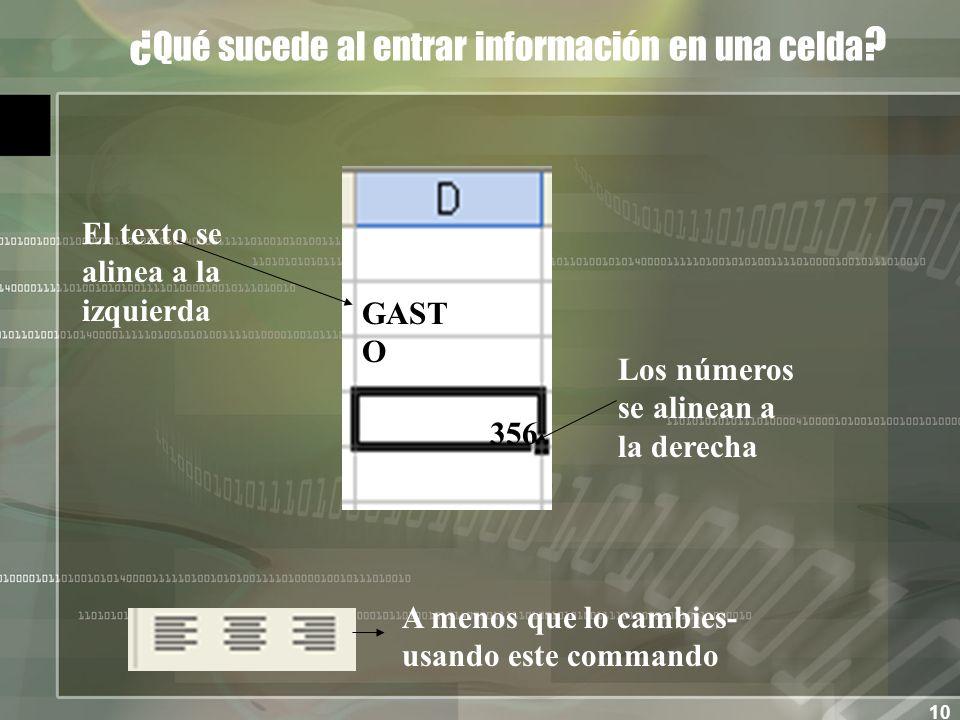 10 ¿ Qué sucede al entrar información en una celda .