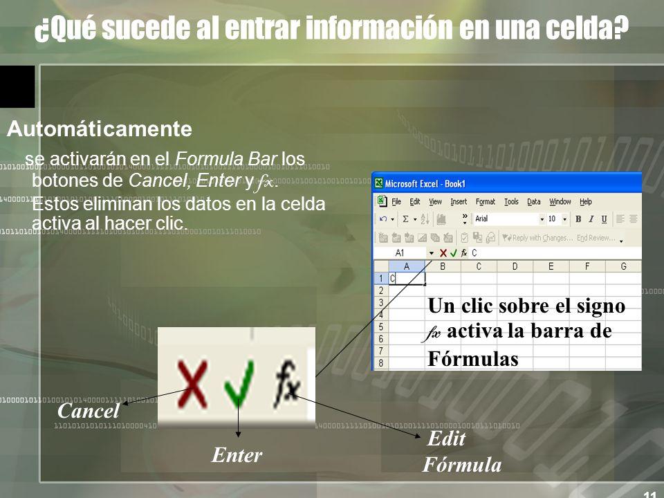 11 ¿Qué sucede al entrar información en una celda.
