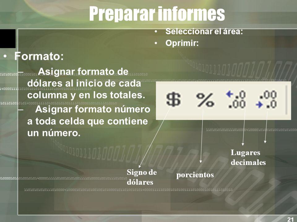 21 Preparar informes Formato: – Asignar formato de dólares al inicio de cada columna y en los totales.