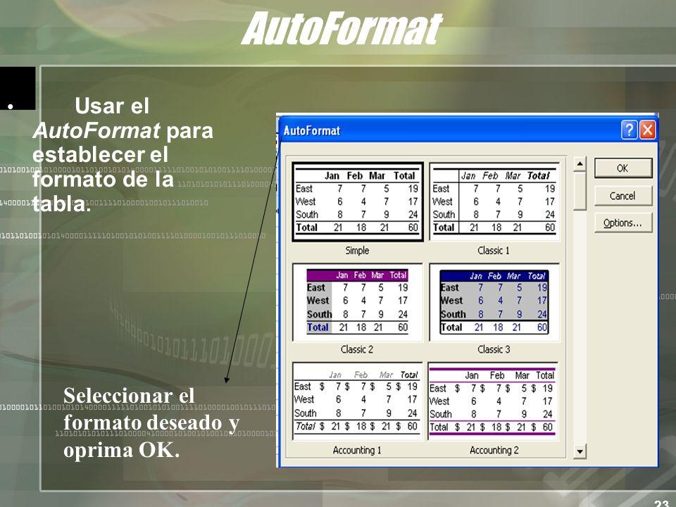 23 AutoFormat Usar el AutoFormat para establecer el formato de la tabla.