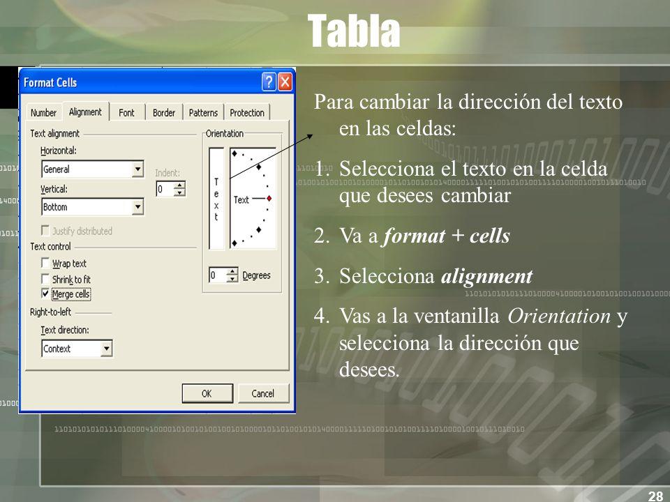 28 Tabla Para cambiar la dirección del texto en las celdas: 1.Selecciona el texto en la celda que desees cambiar 2.Va a format + cells 3.Selecciona alignment 4.Vas a la ventanilla Orientation y selecciona la dirección que desees.