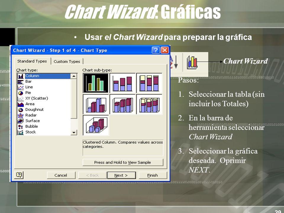 29 Chart Wizard: Gráficas Usar el Chart Wizard para preparar la gráfica Pasos: 1.Seleccionar la tabla (sin incluir los Totales) 2.En la barra de herramienta seleccionar Chart Wizard 3.Seleccionar la gráfica deseada.
