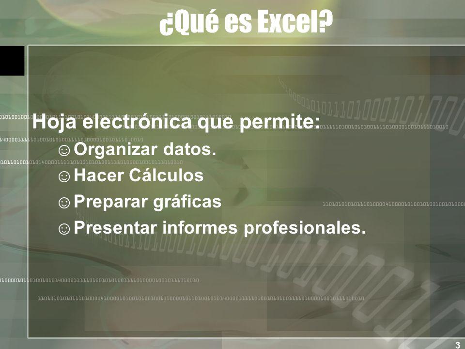 3 ¿Qué es Excel. Hoja electrónica que permite: Organizar datos.
