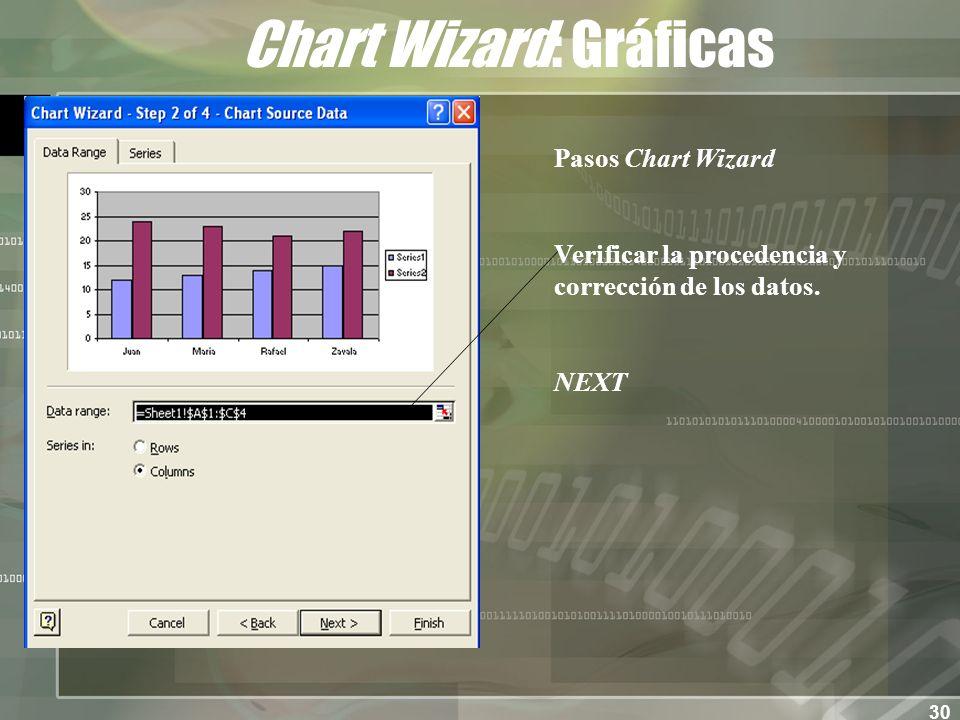 30 Chart Wizard: Gráficas Pasos Chart Wizard Verificar la procedencia y corrección de los datos.