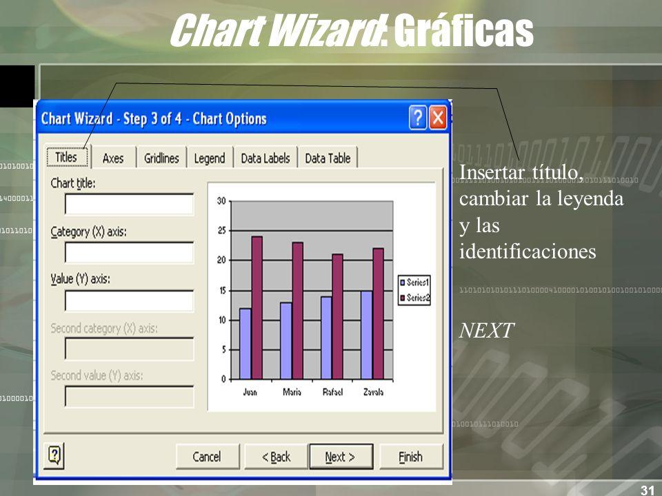 31 Chart Wizard: Gráficas Insertar título, cambiar la leyenda y las identificaciones NEXT