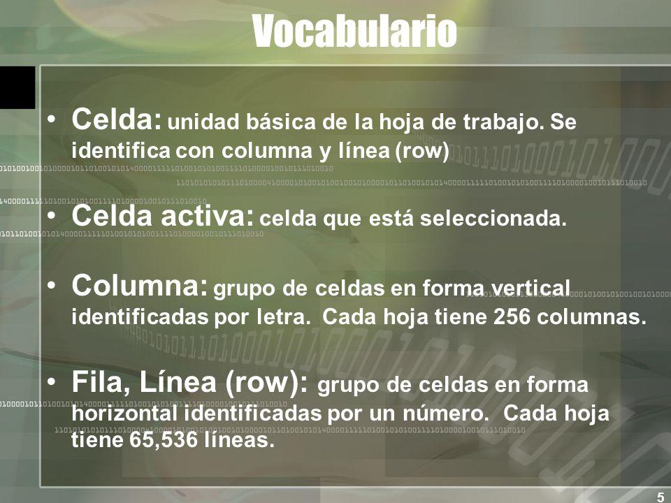 5 Vocabulario Celda: unidad básica de la hoja de trabajo.
