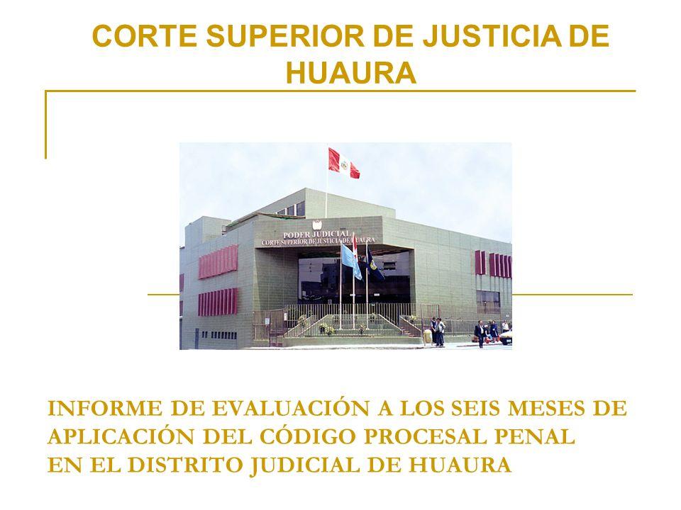 CORTE SUPERIOR DE JUSTICIA DE HUAURA INFORME DE EVALUACIÓN A LOS SEIS MESES DE APLICACIÓN DEL CÓDIGO PROCESAL PENAL EN EL DISTRITO JUDICIAL DE HUAURA