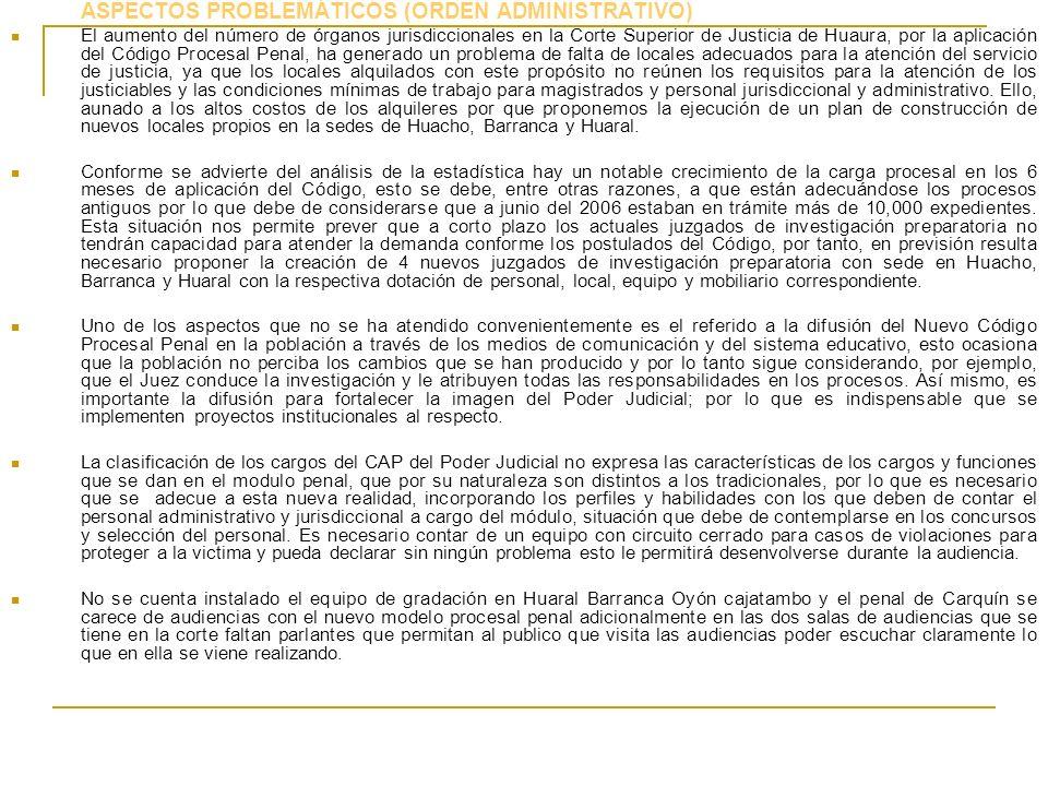 ASPECTOS PROBLEMÁTICOS (ORDEN ADMINISTRATIVO) El aumento del número de órganos jurisdiccionales en la Corte Superior de Justicia de Huaura, por la apl