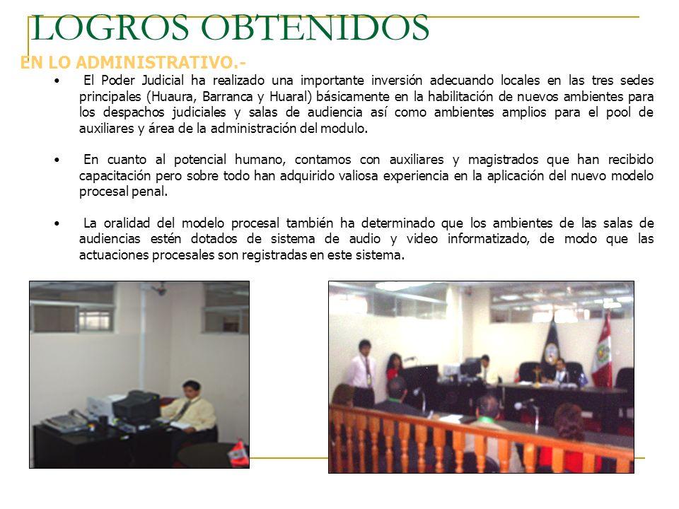 LOGROS OBTENIDOS EN LO ADMINISTRATIVO.- El Poder Judicial ha realizado una importante inversión adecuando locales en las tres sedes principales (Huaur