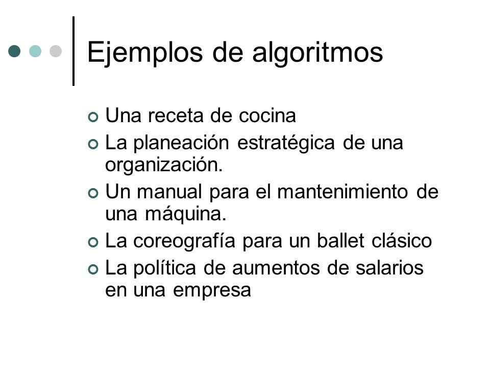 Ejemplos de algoritmos Una receta de cocina La planeación estratégica de una organización. Un manual para el mantenimiento de una máquina. La coreogra