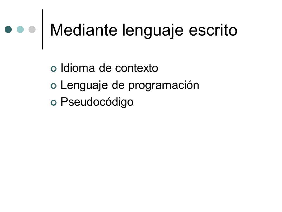 Mediante lenguaje escrito Idioma de contexto Lenguaje de programación Pseudocódigo