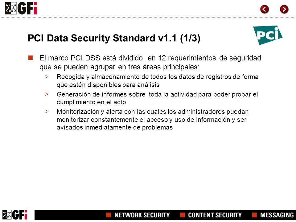 PCI Data Security Standard v1.1 (2/3) Categorías PCI DSS El marco PCI DSS también consta de seis categorías como sigue: Construir y mantener una red segura Proteger la información de titulares de tarjeta Mantener un programa de gestión de vulnerabilidad Mantener una directiva de seguridad de la información Monitorizar y probar regularmente las redes Implementar fuertes medidas de control de acceso
